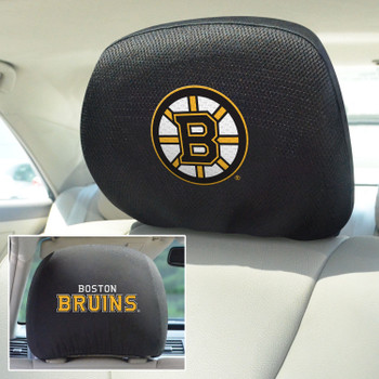 Boston Bruins Embroidered Car Headrest Cover, Set of 2