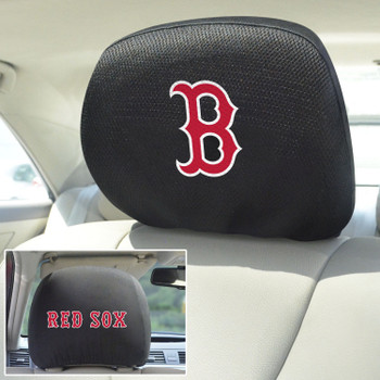 Boston Red Sox Embroidered Car Headrest Cover, Set of 2