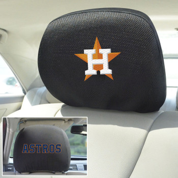 Houston Astros Embroidered Car Headrest Cover, Set of 2