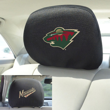 Minnesota Wild Embroidered Car Headrest Cover, Set of 2