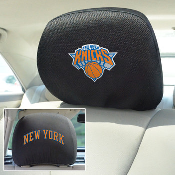 New York Knicks Embroidered Car Headrest Cover, Set of 2