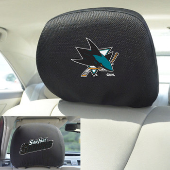 San Jose Sharks Embroidered Car Headrest Cover, Set of 2