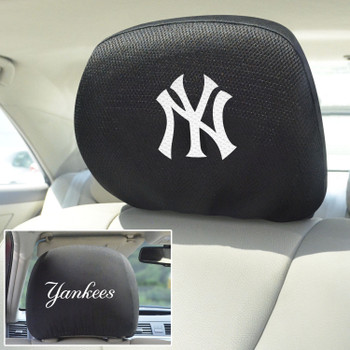 New York Yankees Embroidered Car Headrest Cover, Set of 2
