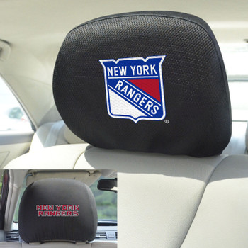 New York Rangers Embroidered Car Headrest Cover, Set of 2