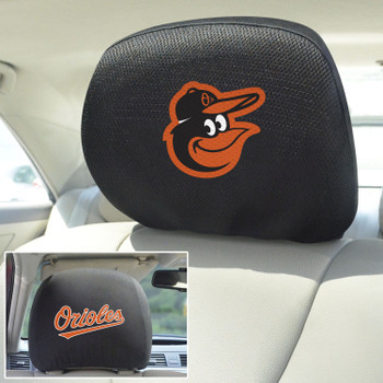 Baltimore Orioles Embroidered Car Headrest Cover, Set of 2
