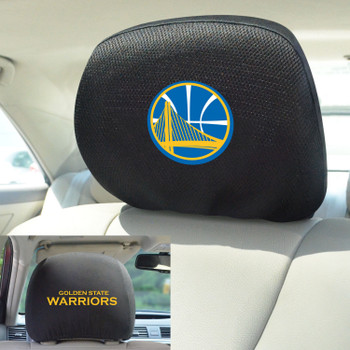 Golden State Warriors Embroidered Car Headrest Cover, Set of 2