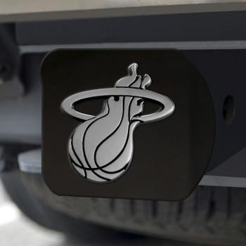 Miami Heat Hitch Cover - Chrome on Black