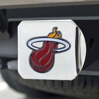 Miami Heat Hitch Cover - Team Color on Chrome