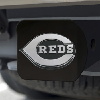 Cincinnati Reds Hitch Cover - Chrome on Black