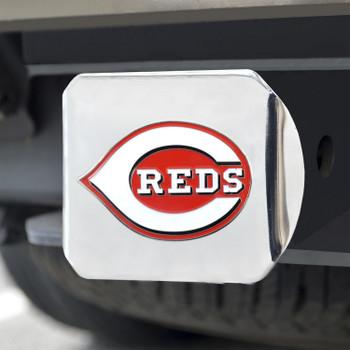Cincinnati Reds Hitch Cover - Team Color on Chrome