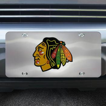Chicago Blackhawks Diecast Stainless Steel License Plate
