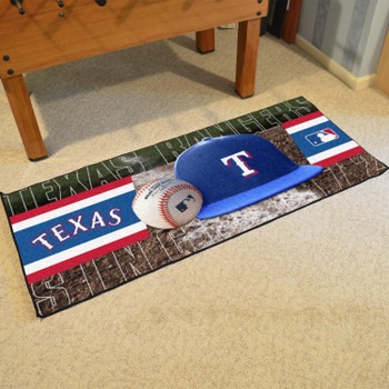 "30"" x 72"" Texas Rangers Baseball Style Rectangle Runner Mat"