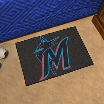 "19"" x 30"" Miami Marlins Black Rectangle Starter Mat"