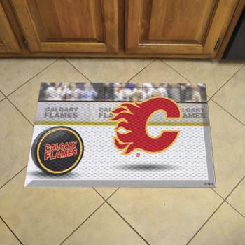 "19"" x 30"" Calgary Flames Rectangle Photo Scraper Mat"