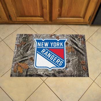 "19"" x 30"" New York Rangers Rectangle Camo Scraper Mat"