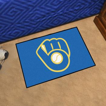 """19"""" x 30"""" Milwaukee Brewers Blue Rectangle Starter Mat"""