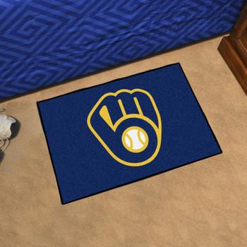 """19"""" x 30"""" Milwaukee Brewers Navy Rectangle Starter Mat"""