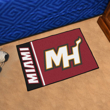 "19"" x 30"" Miami Heat Uniform Black Rectangle Starter Mat"