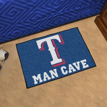 """19"""" x 30"""" Texas Rangers Man Cave Starter Blue Rectangle Mat"""