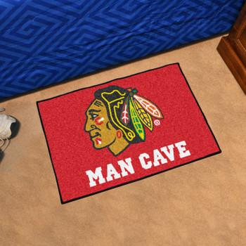 "19"" x 30"" Chicago Blackhawks Man Cave Starter Red Rectangle Mat"
