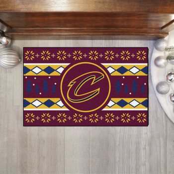 """19"""" x 30"""" Cleveland Cavaliers Holiday Sweater Maroon Starter Mat"""