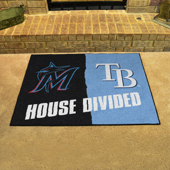 """33.75"""" x 42.5"""" Marlins / Rays House Divided Rectangle Mat"""
