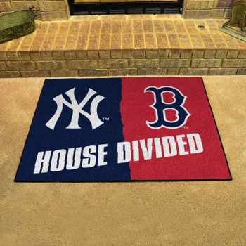 """33.75"""" x 42.5"""" Yankees / Red Sox House Divided Rectangle Mat"""