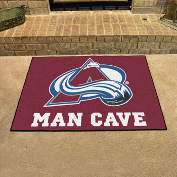 """33.75"""" x 42.5"""" Colorado Avalanche Man Cave All-Star Maroon Rectangle Mat"""