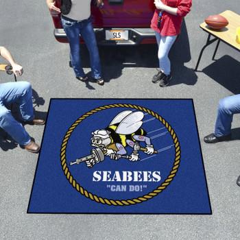 "59.5"" x 71"" U.S. Navy Seabees Blue Tailgater Mat"