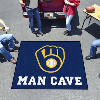 "59.5"" x 71"" Milwaukee Brewers Man Cave Tailgater Navy Rectangle Mat"