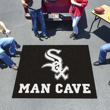 "59.5"" x 71"" Chicago White Sox Man Cave Tailgater Black Rectangle Mat"