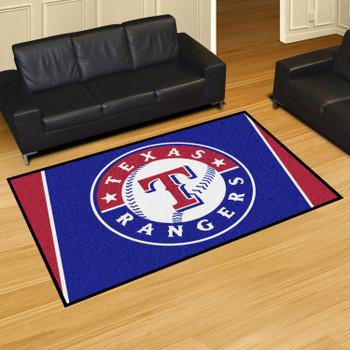 "59.5"" x 88"" Texas Rangers Blue Rectangle Rug"
