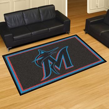 "59.5"" x 88"" Miami Marlins Black Rectangle Rug"