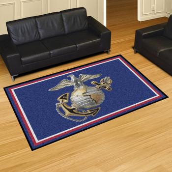 "59.5"" x 88"" U.S. Marines Logo Red Rectangle Rug"