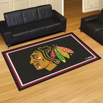 "59.5"" x 88"" Chicago Blackhawks Black Rectangle Rug"
