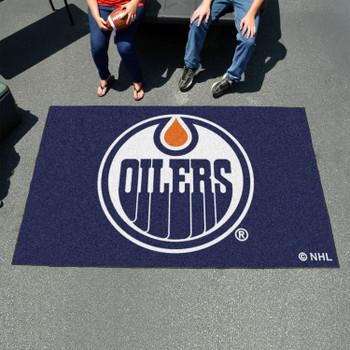 """59.5"""" x 94.5"""" Edmonton Oilers Blue Rectangle Ulti Mat"""