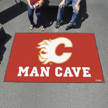"59.5"" x 94.5"" Calgary Flames Red Man Cave Rectangle Ulti Mat"