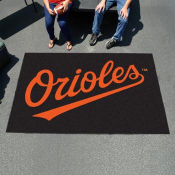 "59.5"" x 94.5"" Baltimore Orioles Wordmark Black Rectangle Ulti Mat"