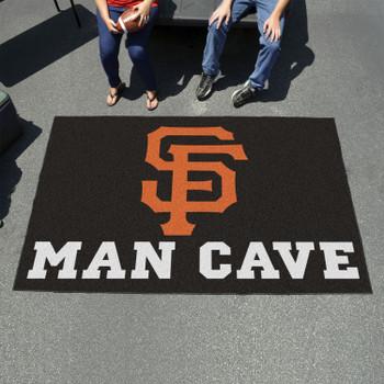 "59.5"" x 94.5"" San Francisco Giants Black Man Cave Rectangle Ulti Mat"