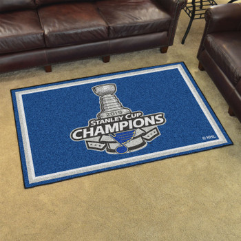 """59.5"""" x 88"""" St. Louis Blues 2019 Stanley Cup Champions Blue Rectangle Rug"""