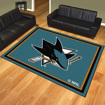 8' x 10' San Jose Sharks Turquoise Rectangle Rug