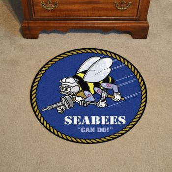 "27"" U.S. Navy Roundel Blue Round Mat"