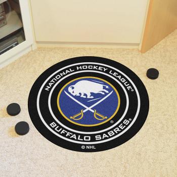 """27"""" Buffalo Sabres Round Hockey Puck Mat"""