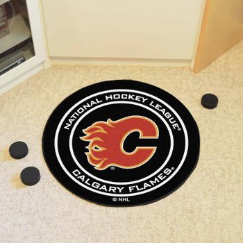 """27"""" Calgary Flames Round Hockey Puck Mat"""