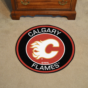 """27"""" Calgary Flames Roundel Red Round Mat"""