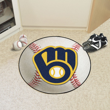 """27"""" Milwaukee Brewers Round Baseball Mat"""