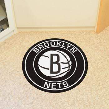"27"" Brooklyn Nets Roundel Black Round Mat"