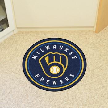 """27"""" Milwaukee Brewers Roundel Navy Round Mat"""