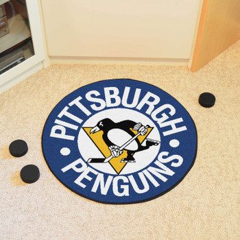 """27"""" Pittsburgh Penguins Round Hockey Puck Mat"""