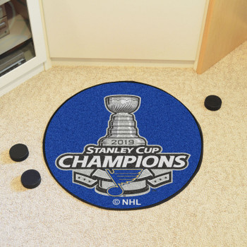 """27"""" St. Louis Blues 2019 Stanley Cup Champions Round Hockey Puck Mat"""